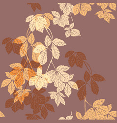 liana floral pattern on the brown vector image