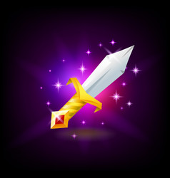 magic sword with golden hilt with red gemstone vector image