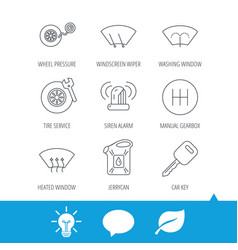 manual gearbox tire service and car key icons vector image