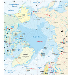 map arctic with least and largest ice cap 2018 vector image