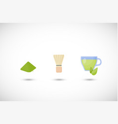 matcha tea powder flat icon set vector image