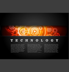 Metal Technology Panel With Glowing Gears vector image