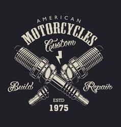 monochrome motorcycle service logotype vector image