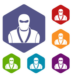 Ninja in black mask icons set hexagon vector