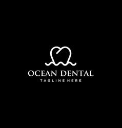 ocean dental logo design concept vector image