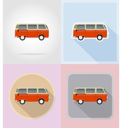 Old retro transport flat icons 15 vector
