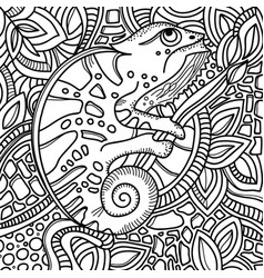 page for color book with stylized chameleon vector image