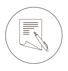 paper and pen icon outline single education icon vector image