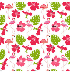Pattern monstera leaves flamingo flowers vector