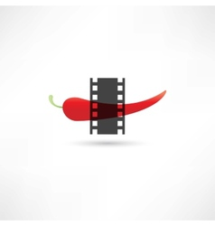 Pepper and film frame vector image