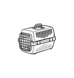 pets transport box hand drawn outline doodle icon vector image