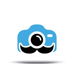 Photo logo design Fun camera with a mustache vector