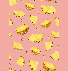 pineapple fruits slice seamless pattern on pink vector image