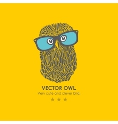 Print with cute and clever owl in glasses vector