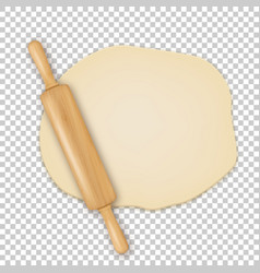 realistic 3d wooden rolling pin on roll out vector image