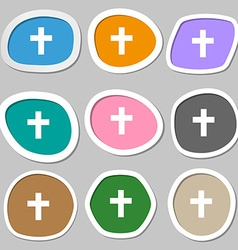 Religious cross Christian symbols Multicolored vector