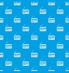 retro radio pattern seamless blue vector image