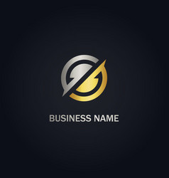 Round circle abstract company gold logo vector