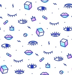 Seamless pattern in the style of psychedelic eyes vector image
