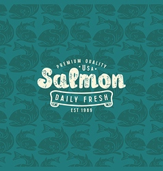 Seamless pattern with a picture of salmon vector