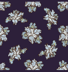 seamless pattern with hand drawn colored iris vector image