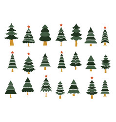 set different fir trees tree merry christmas vector image