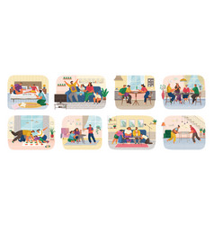 Set funny smiling people sitting at table vector