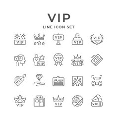 set line icons vip vector image