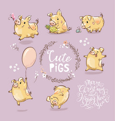set of cute tiny yellow pig in different poses vector image