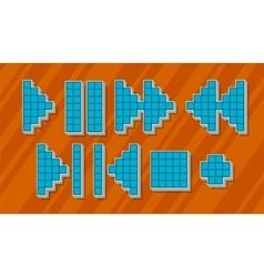 Set of different blue pixel symbols for player vector image