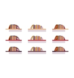 Set of retro flat bookshelves vector