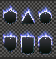 set of six frames surrounded with blue flame vector image