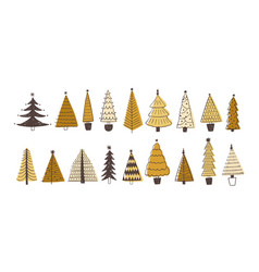 set of various firs pines or spruces decorated vector image