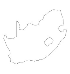 south africa - solid black outline border map of vector image