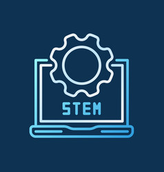 stem laptop with cog linear colorful icon vector image