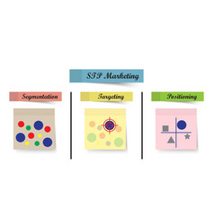 Stp marketing diagram - process sticky notes vector