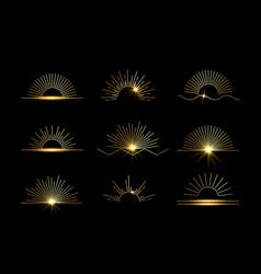 Sun set linear boho icons and symbols gold vector