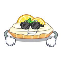 Super cool cartoon lemon cake with lemon slice vector