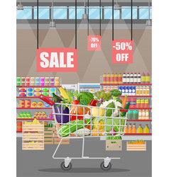 Supermarket store interior with vegetables vector