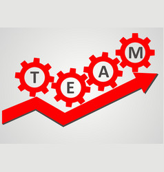 Team concept - gear climb up the arrow vector