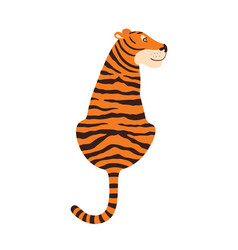 tiger sitting view from back vector image