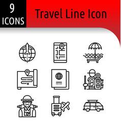travel line icon vector image