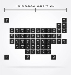 usa map electoral college stylized square states vector image