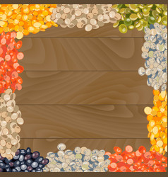 various types of lentils on wooden background vector image