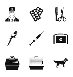 Veterinary things icons set simple style vector