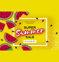 watermelon super summer sale banner in paper cut vector image