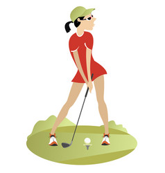 Woman playing golf vector