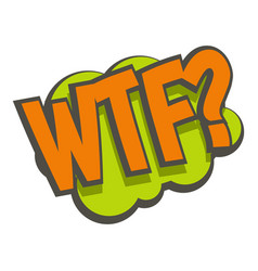 Wtf comic text sound effect icon isolated vector