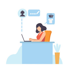 young woman working with laptop online shopping vector image