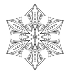 Zentangle elegant snow flake for adult coloring vector image